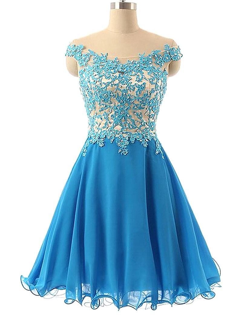 Solo Dress Tulle Homecoming Dress,Lace Homecoming Dress,Blue ...