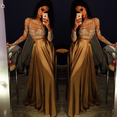 Solo Dress Long Sleeve Gold Prom Dresses,Long Evening Dresses,Prom ...