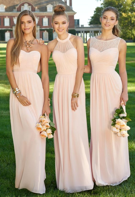 Blush pink bridesmaid dresses, Mismatched prom dresses, Chiffon ...