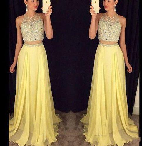 Long Yellow Prom Dress,O-Neck Prom Dress,2 Pieces Prom Dress,Chiffon ...