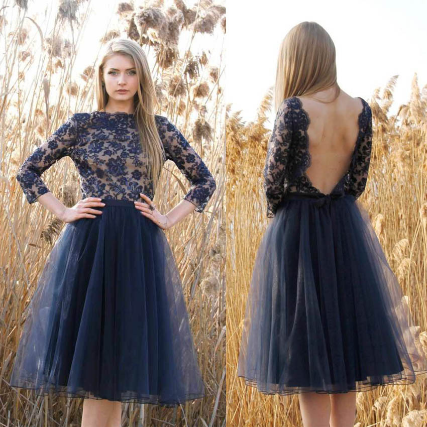 Modsele Navy Lace Scoop Backless Short Homecoming Dresses,Navy Tulle ...