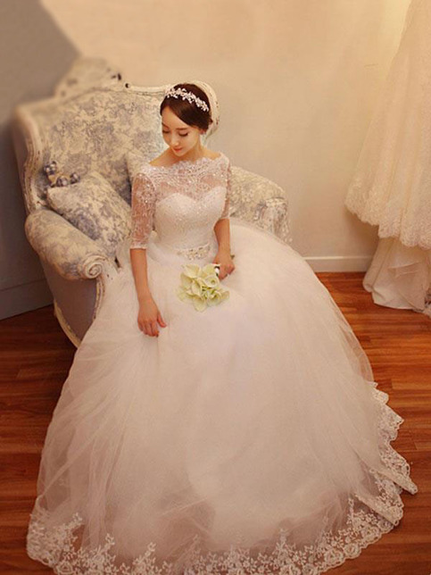 Long wedding dress half sleeves wedding dress princess for Cheap princess wedding dress