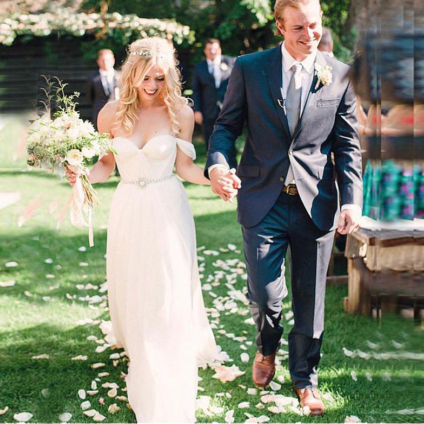Simple Romantic Chiffon Wedding Dresses Off Shoulder Vestidos de ...
