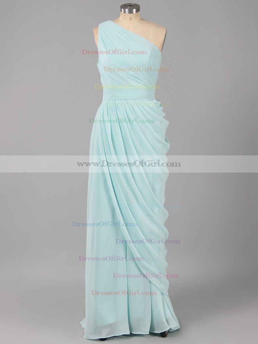 One Shoulder Bridesmaid Dress with Soft Pleats, Teal Blue Sheath ...
