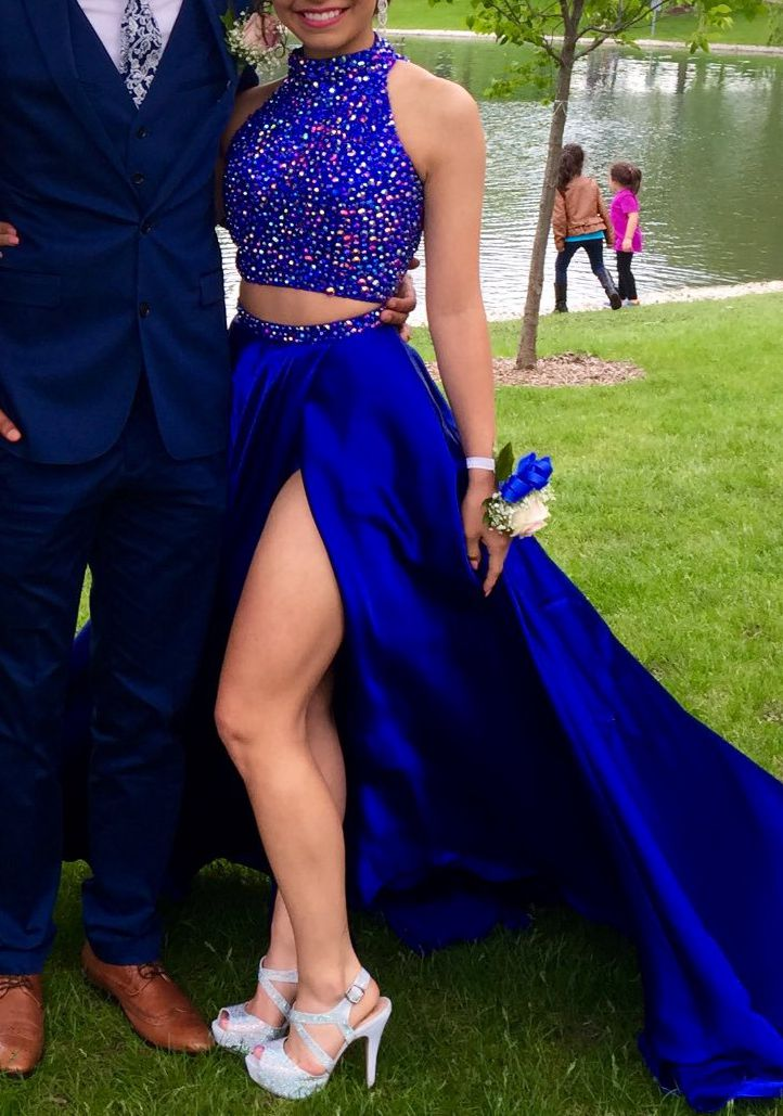 Cobalt blue two pieces beading long prom dress,evening dress,party ...