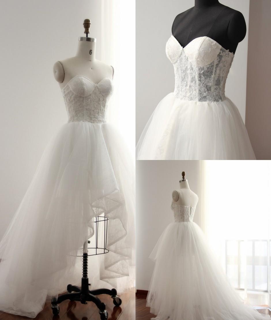Romantic wedding dress a line wedding dress high low for High low sweetheart wedding dress