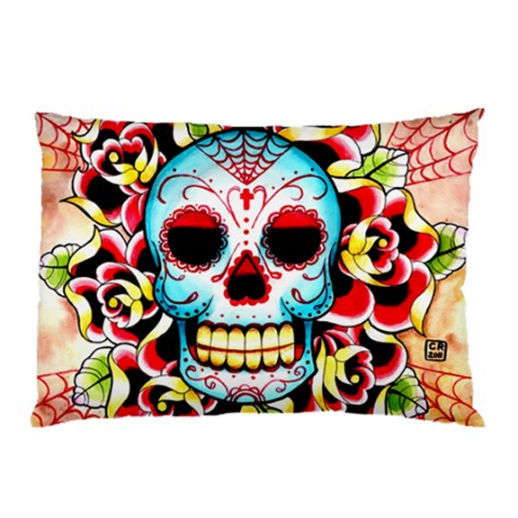Full pillowcase day of the dead old school sugar skull for Old school day of the dead tattoo