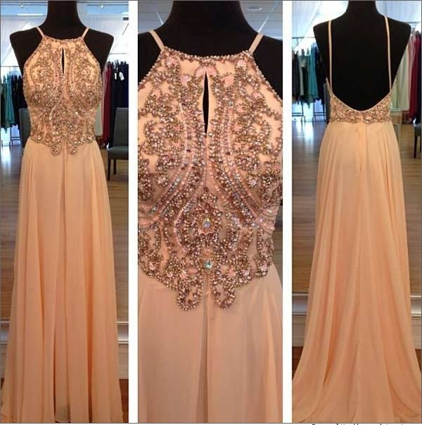 Light Peach Long Prom Dresses, Straps Prom Gowns,Beaded Evening ...