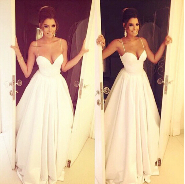 White Wedding Dresses,Long Wedding Gown,Ruffled Wedding Gowns,Satin ...