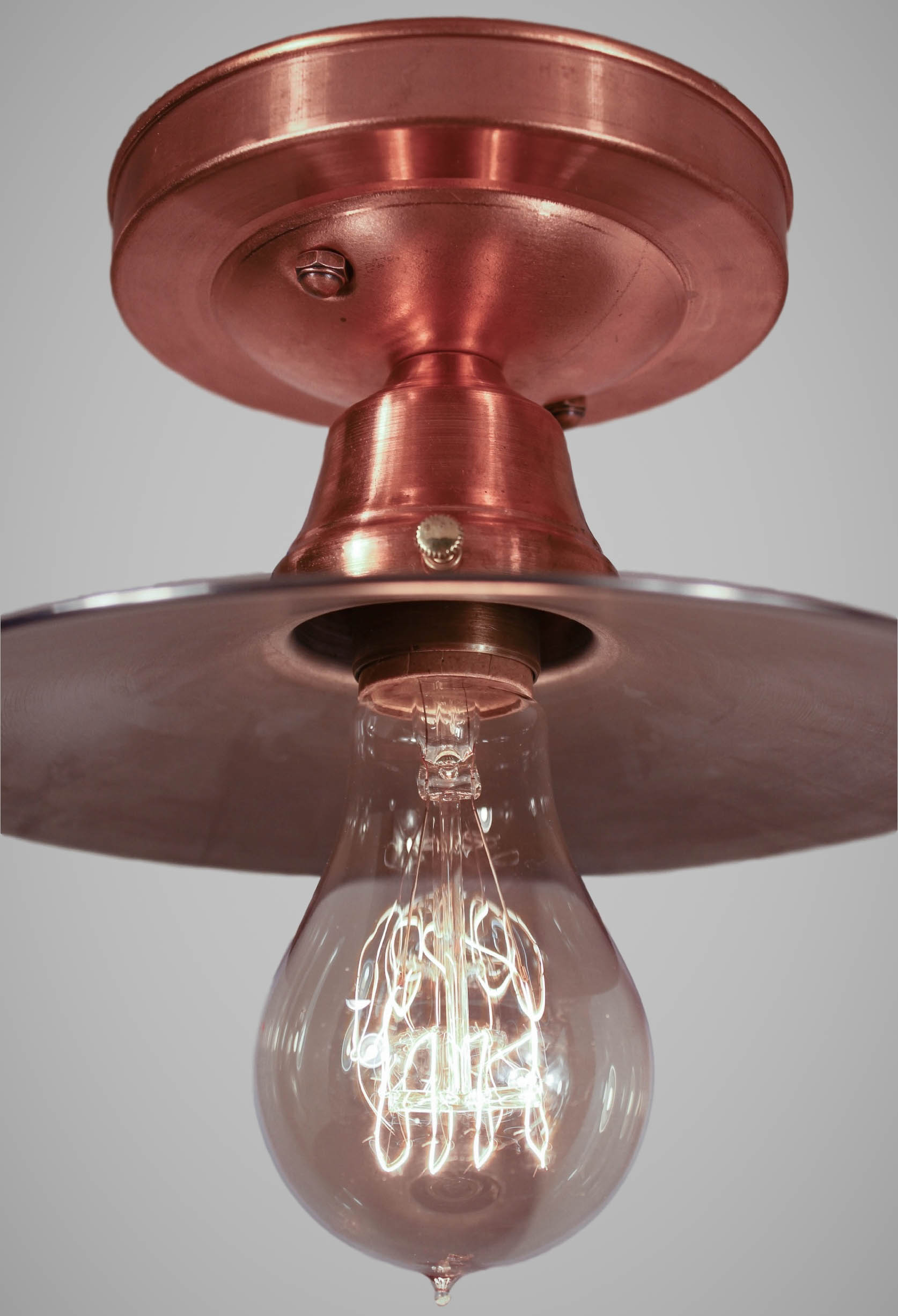Copper Flushmount Ceiling Light Vintage Industrial