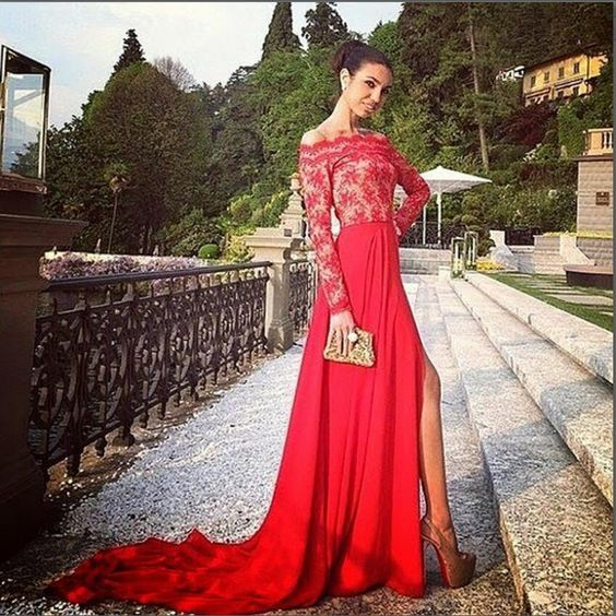 Red Lace Prom Dress,A Line Long Sleeve Prom Dress, Long Sleeve Lace ...