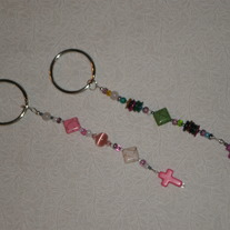 Beaded Keychain Cross/Pink or Purple