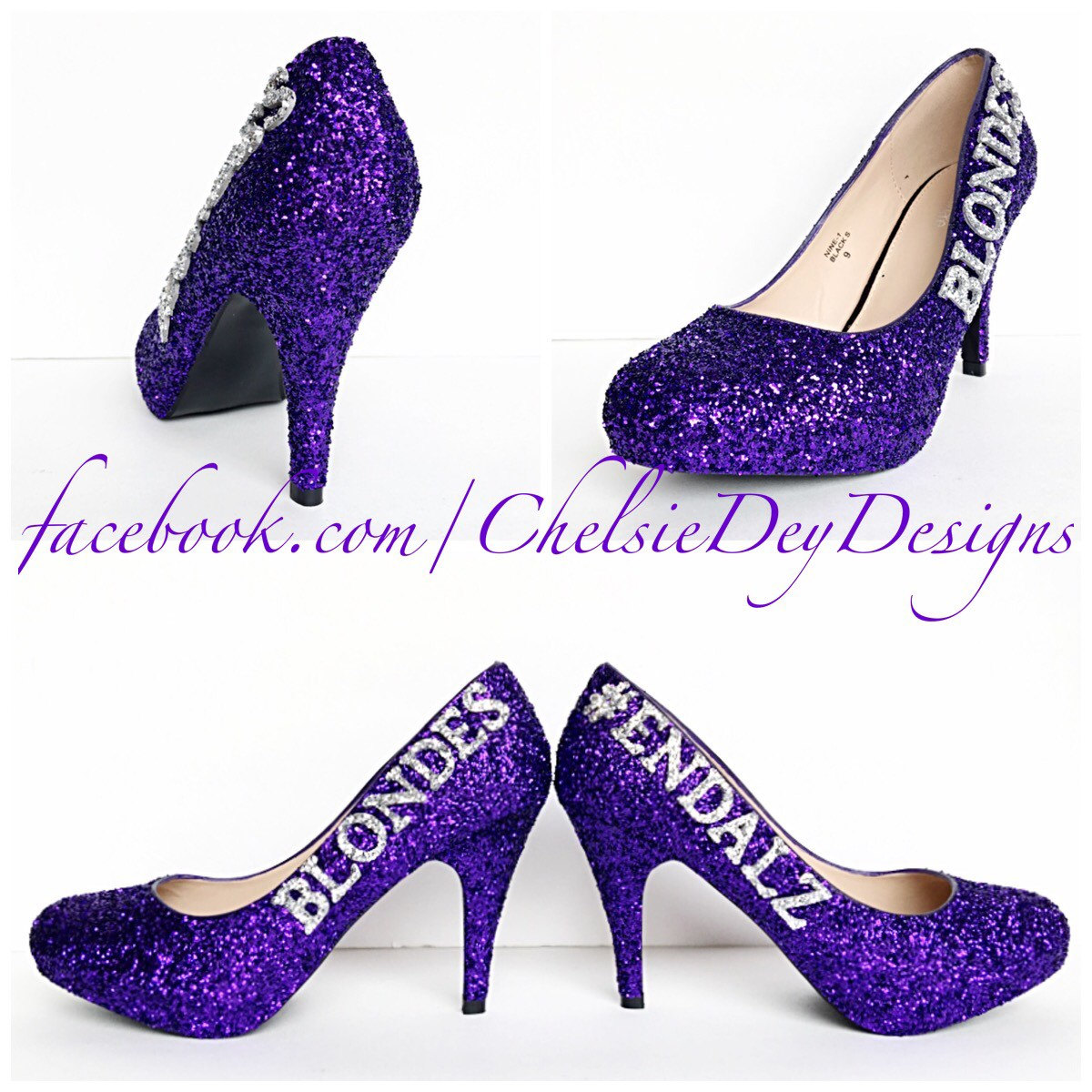 Purple Glitter High Heels - Silver Royal Purple Eggplant Pumps ...