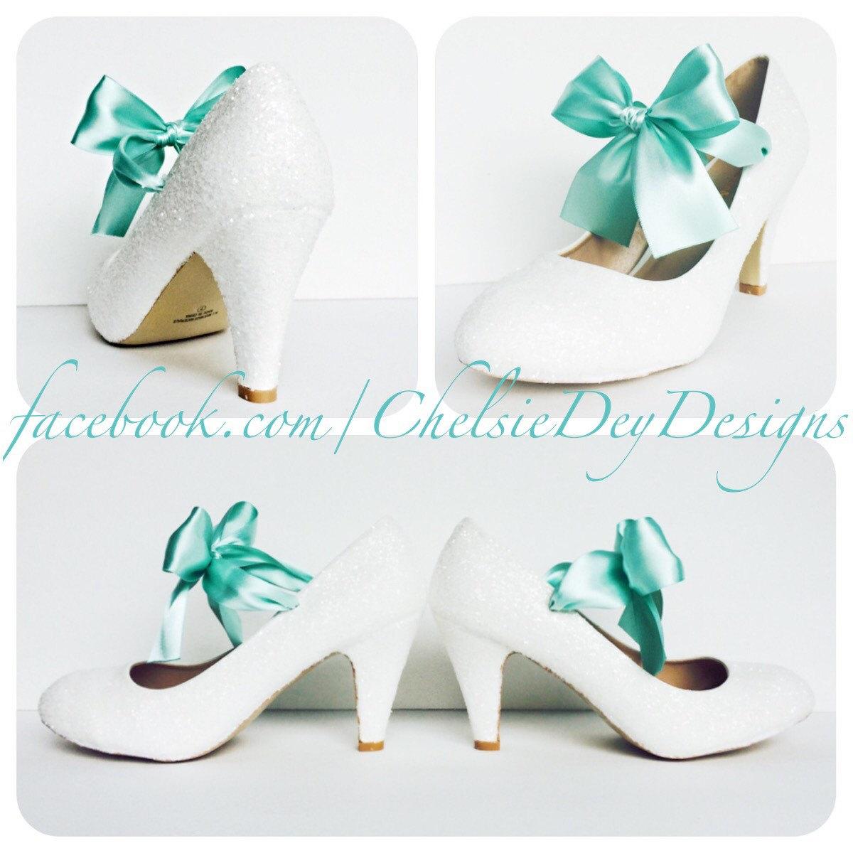 Mint Glitter Low Heels White Aqua Seafoam Pumps Wedding Shoes