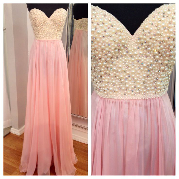 Pearls Pink Chiffon Prom Dresses 2016,A Line Sweetheart Long Prom ...