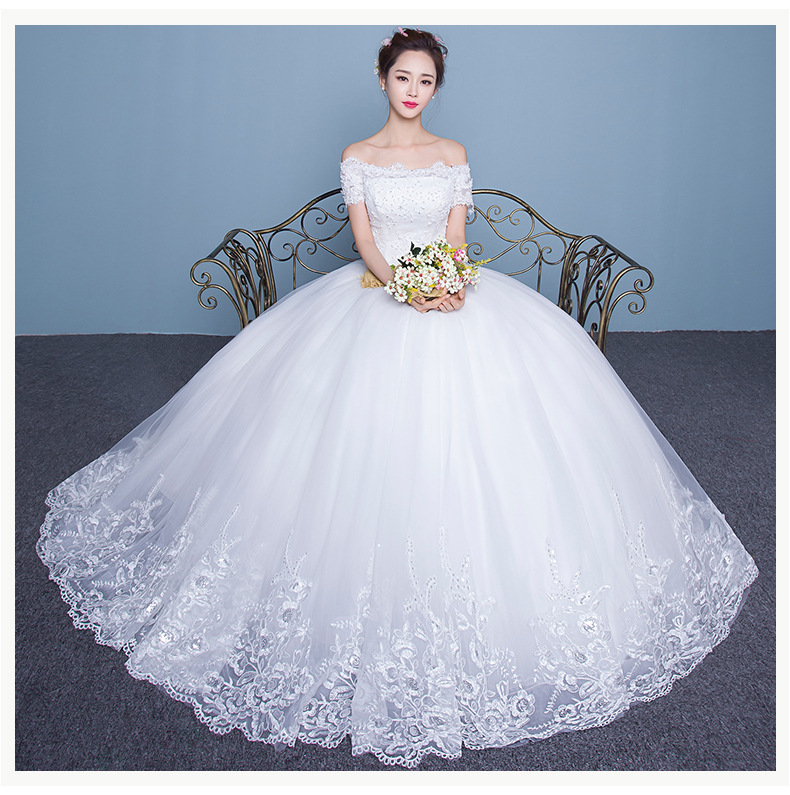 A22 2016 Fashion Bride White Lace Wedding Dress Short Sleeves Boat Neck  A Line Floor