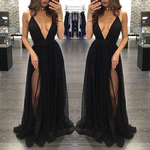 Black deep V-neck tulle long prom dresses,