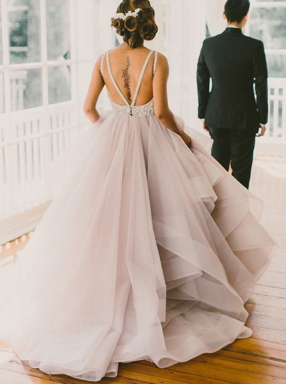 Princess Long Scoop Backless Ball Gown Prom Dresses,Organza Formal ...