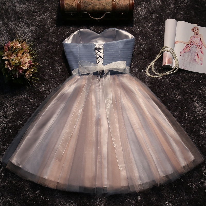 grey strapless prom dresses