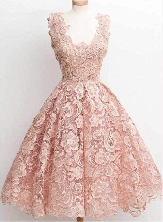 Lace homecoming dress, peach homecoming dress, short prom dress ...