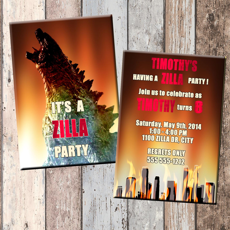 zilla personalized birthday invitation 2 sided  birthday