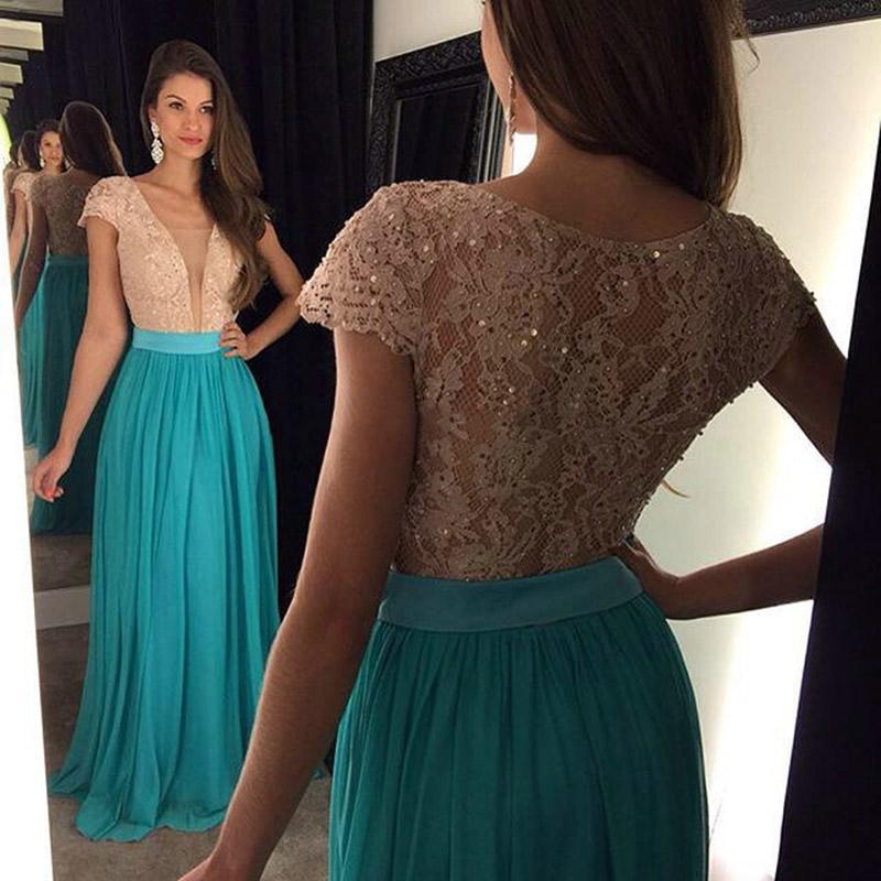 Sexy Plunge V Neck Prom Dressdiscount Lace Prom Dressshort Sleeve