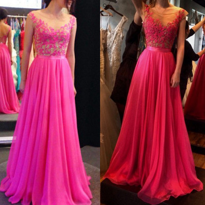 long prom dress, lace prom dress, hot pink prom dress, elegant prom ...