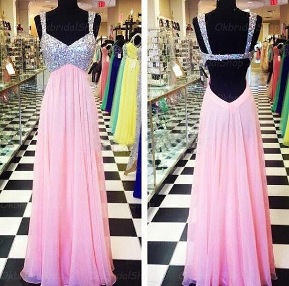 Backless pink prom dress, sexy prom dress, beautiful prom dress ...