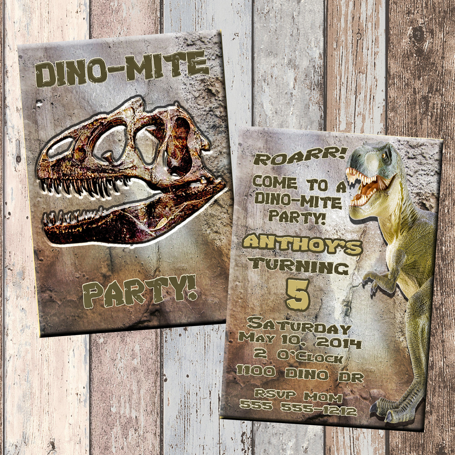 Dinosaur Dino Mite Personalized Birthday Invitation 2 Sided Card Party