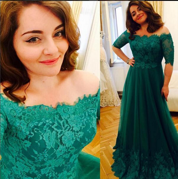 Lace Half Sleeve Long Prom Dress,Evening Dress,Charming Prom Dresses ...