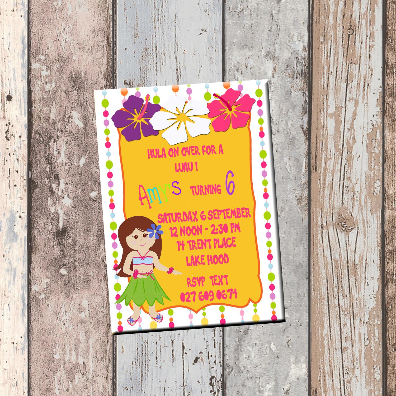 Hula Luau Personalized Birthday Invitation 1 Side Card Party