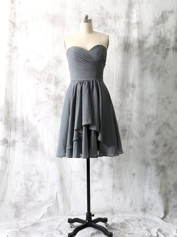 Short bridesmaid dresses,gray bridesmaid dress, strapless bridesmaid ...
