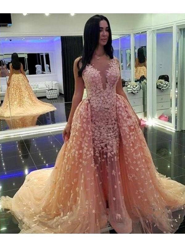 Long Prom Dress,Detachable Prom Dress, Champagne Prom Dress, V Neck ...