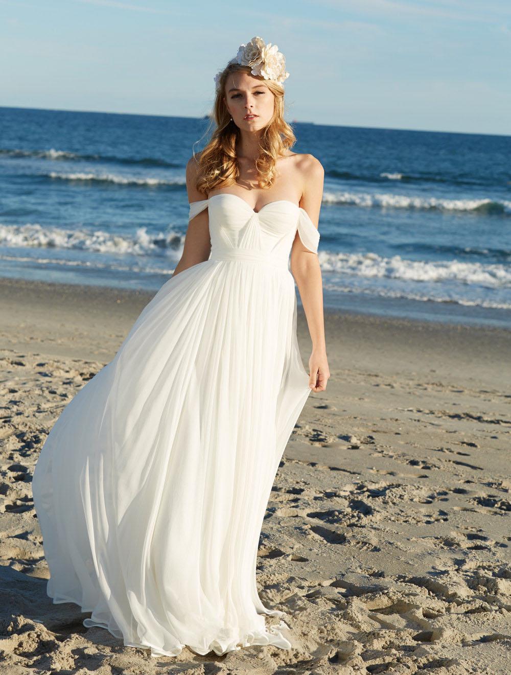 Beach Wedding Dress A-line White Off Shoulder Ruched Chiffon Long ...
