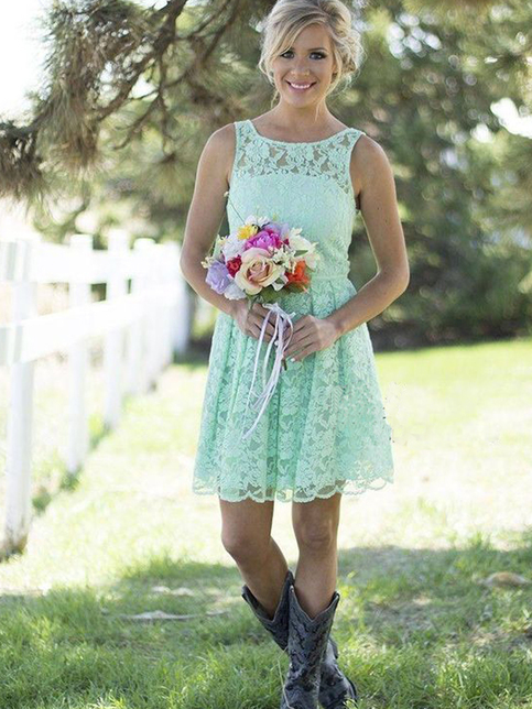 Short custom bridesmaid dresses mint bridesmaid dress for Short country wedding dress