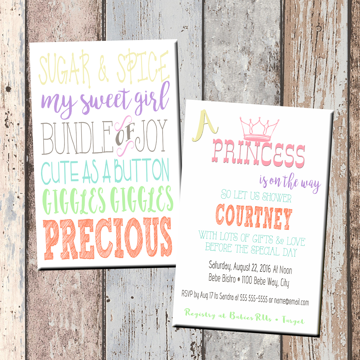 Princess Sugar & Spice Baby Shower Invitation-2 Sided · SCG Designs ·