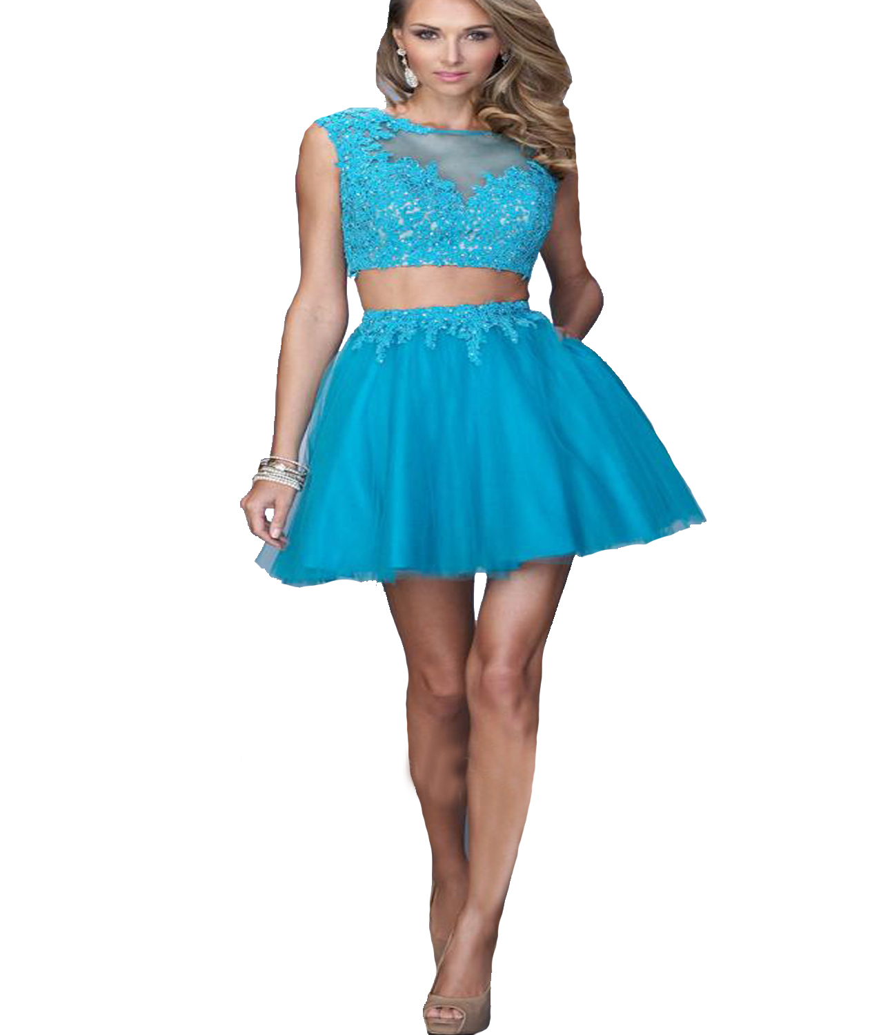 J132 2 Pieces Short Blue Cocktail Dresses, Homecoming Dresses 2016 ...