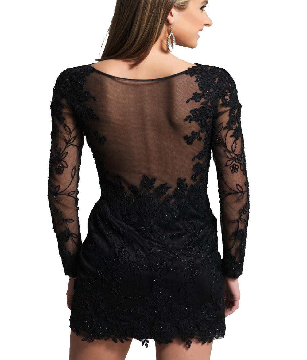J137 Long Sleeve Short Homecoming Dress, Sexy Black Party Dress ...