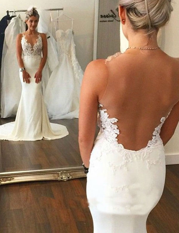 Fashion V-neck Lace Appliques Sheer Back Mermaid Wedding Dress ...