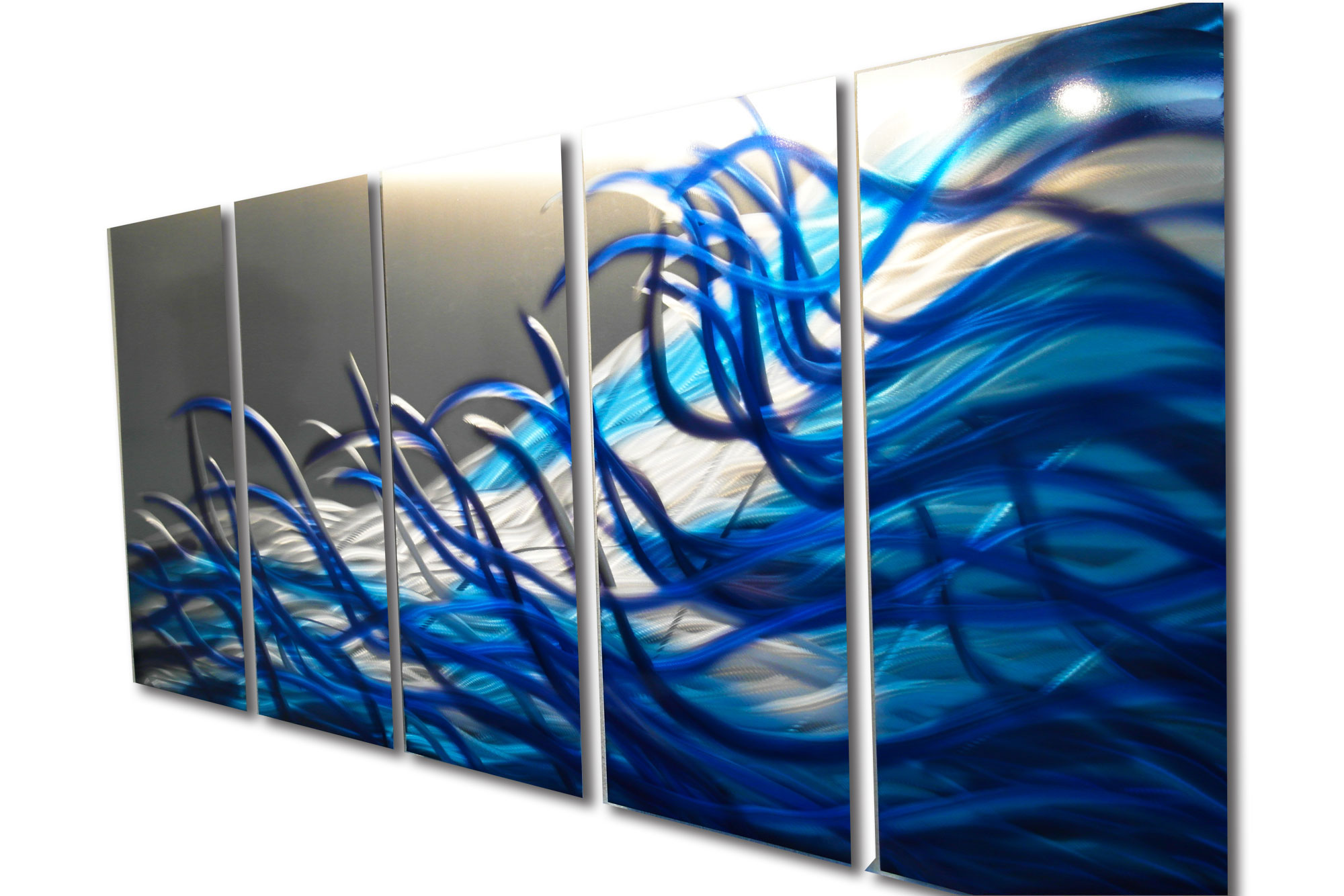 Blue Metal Wall Art resonance blue 36x79- metal wall art contemporary modern decor