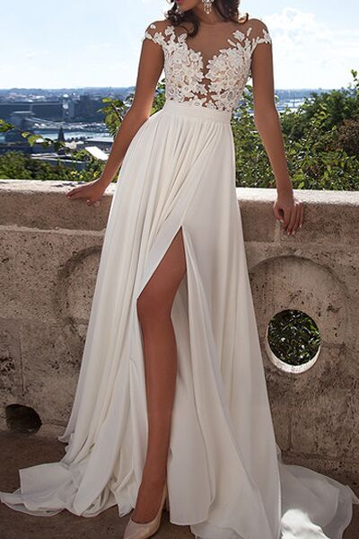 A line lace beach wedding dresses front slit see through for Lace beach wedding dresses