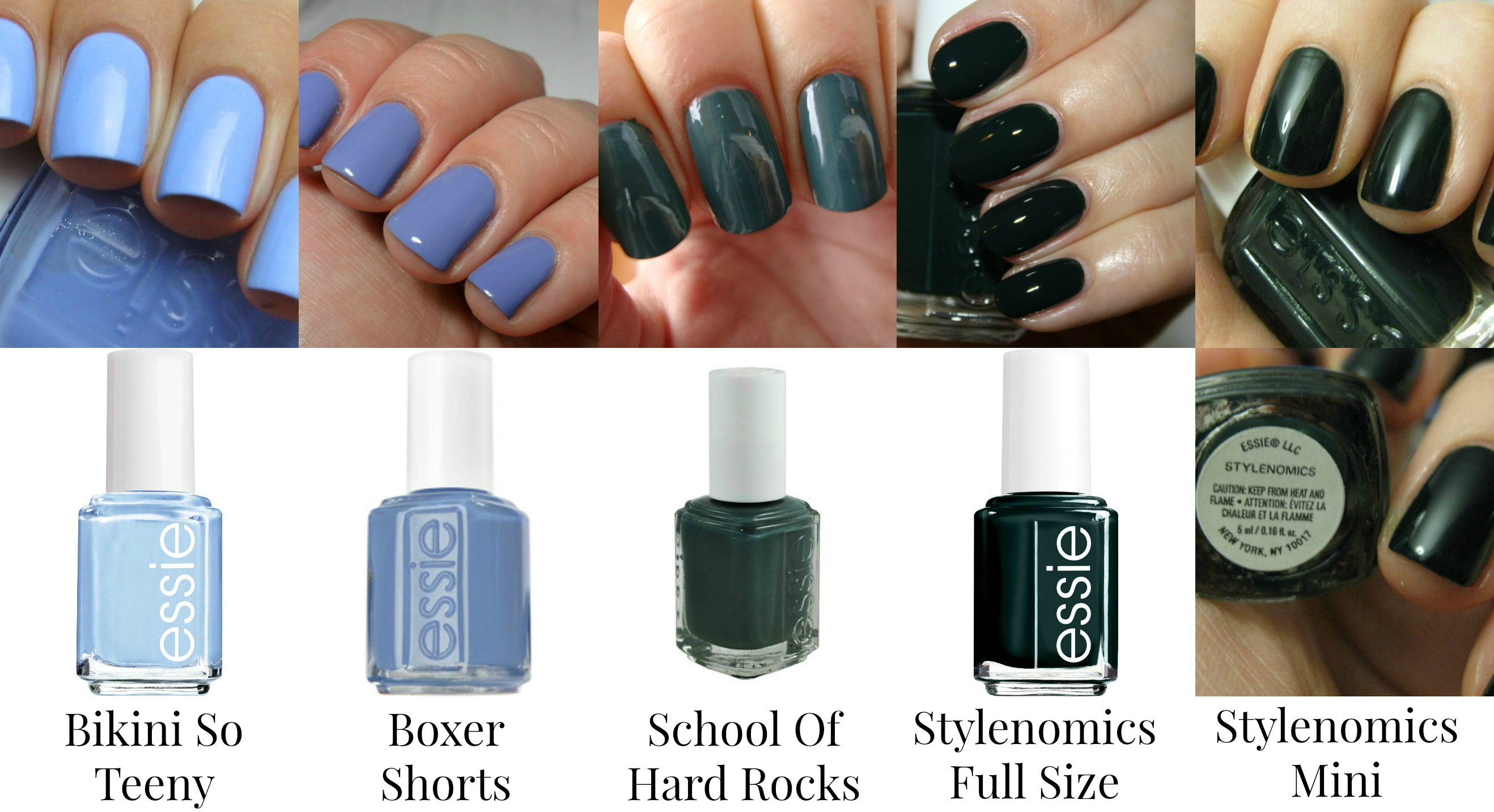 Essie Nail Polishes - Blues and Dark Greens - Bikini So Teeny, Boxer ...