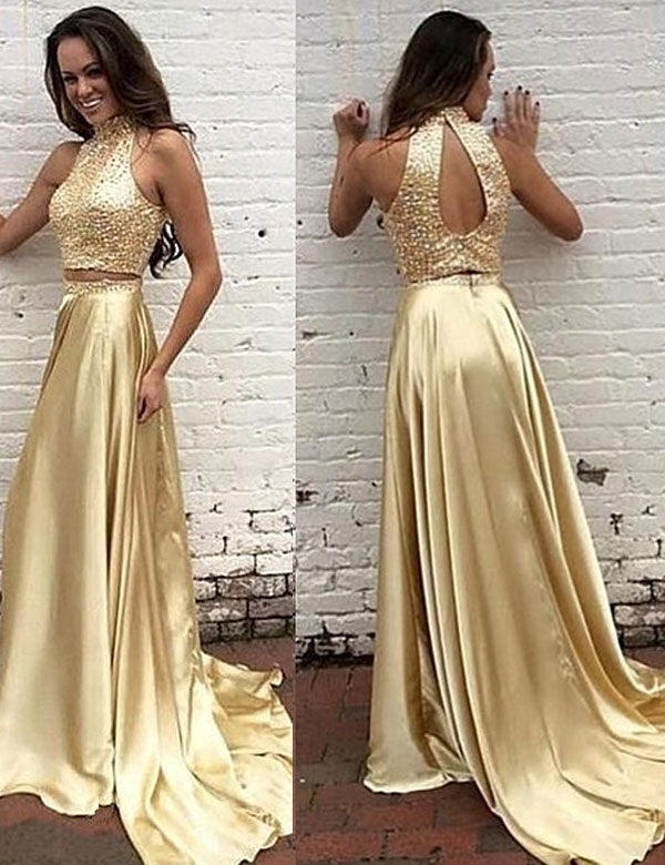 Modern High Neck Beading Prom Dresstwo Pieces Gold Long Prom Dress