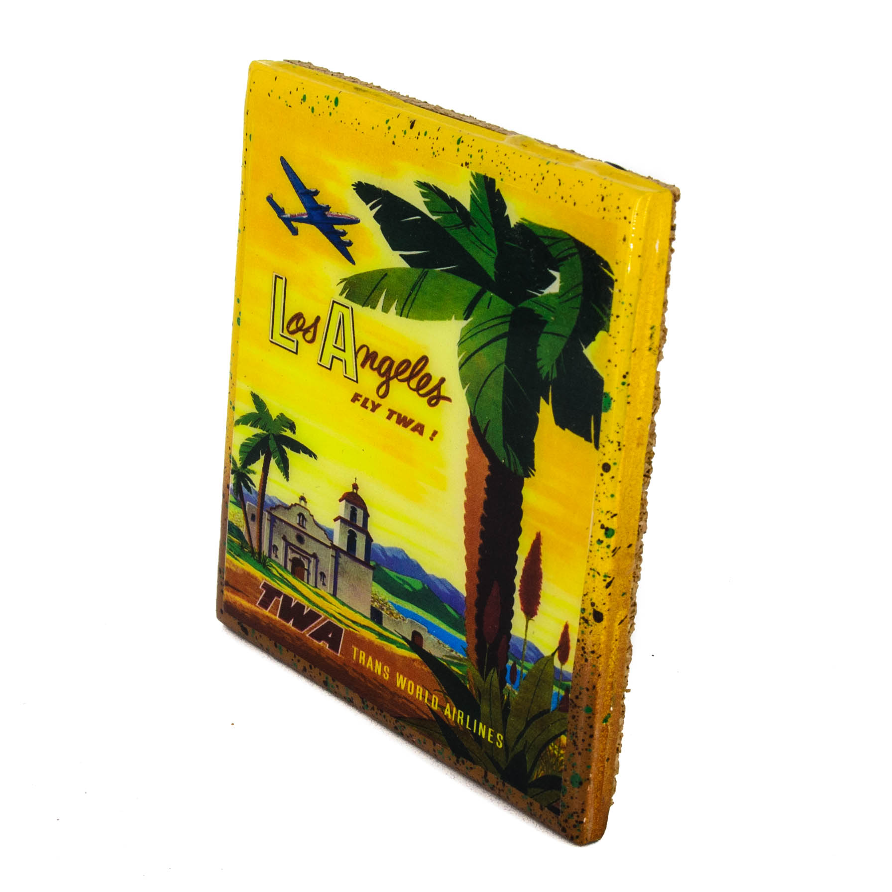Stella divina handmade coaster vintage travel ad for Recycled building materials los angeles