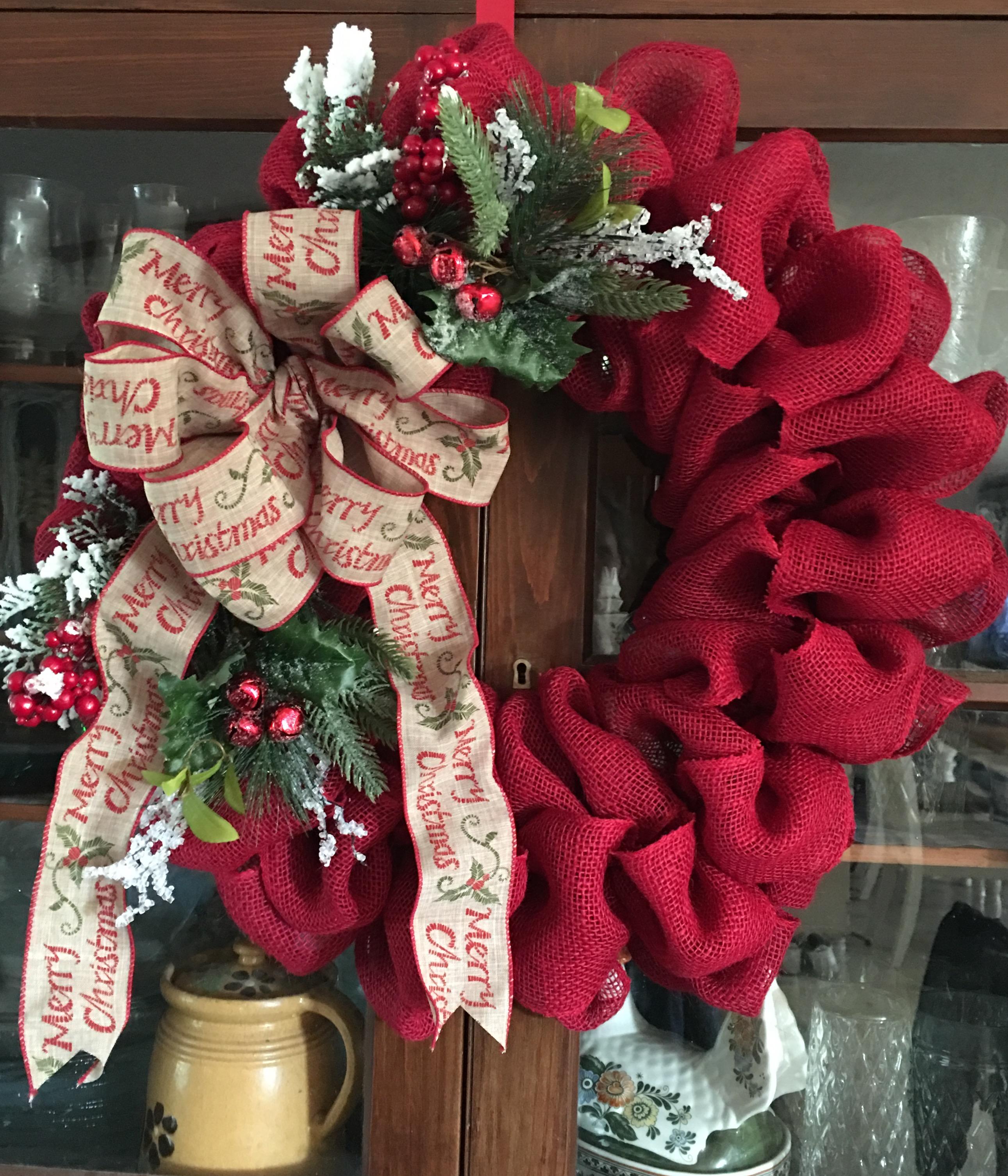 red burlap christmas wreath - Burlap Christmas Wreath