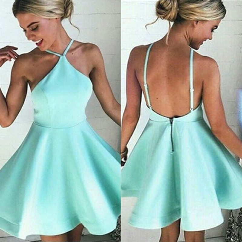 Simple Cheap Mint Short Open Back Homecoming Dresses,Satin ...