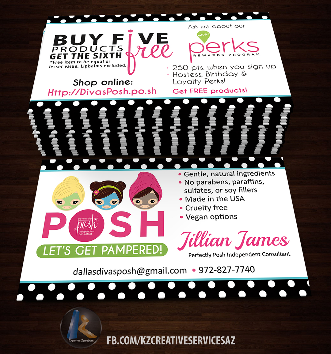 Perfectly Posh Business Cards 5 Kz Creative Services Online