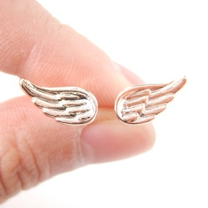 Small Angel Wings Feather Shaped Textured Stud Earrings In Rose Gold