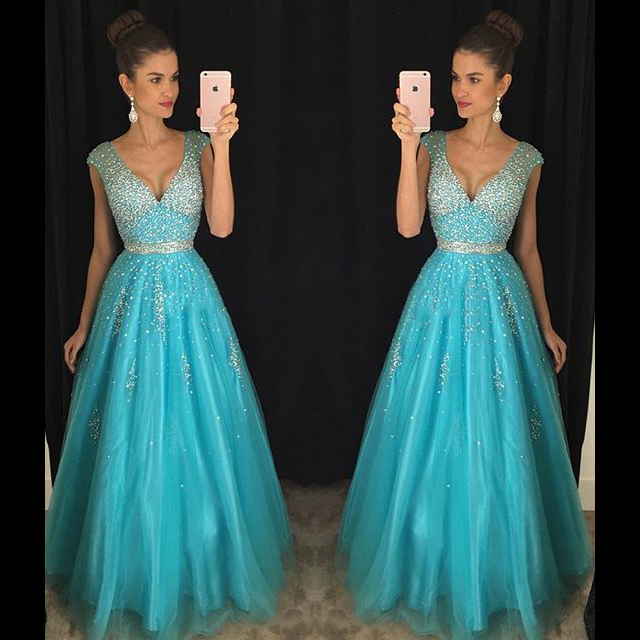 Deep V Neck A-line Tulle Prom Dress with Cap Sleeves, Light Blue ...