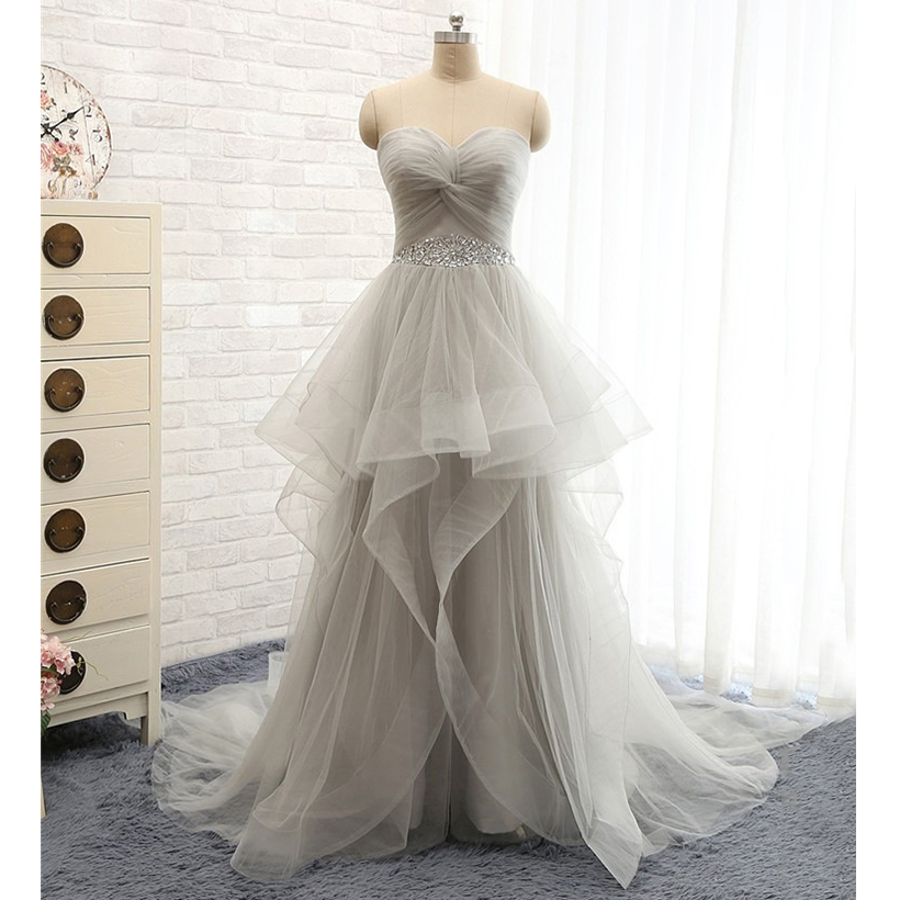 Light Gray Sweetheart Ruched Bust Prom Dress, Princess Tulle Ruffles ...